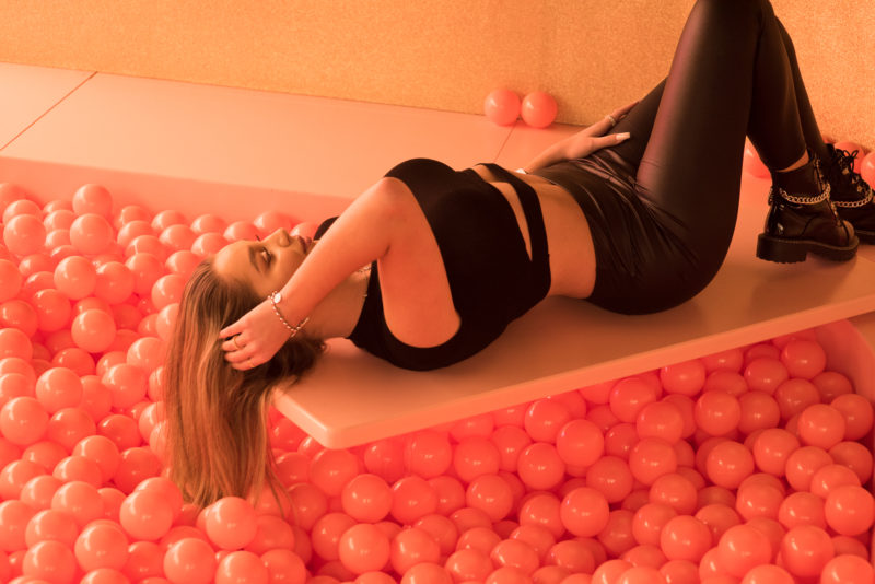 Photo shooting poses in a lying position